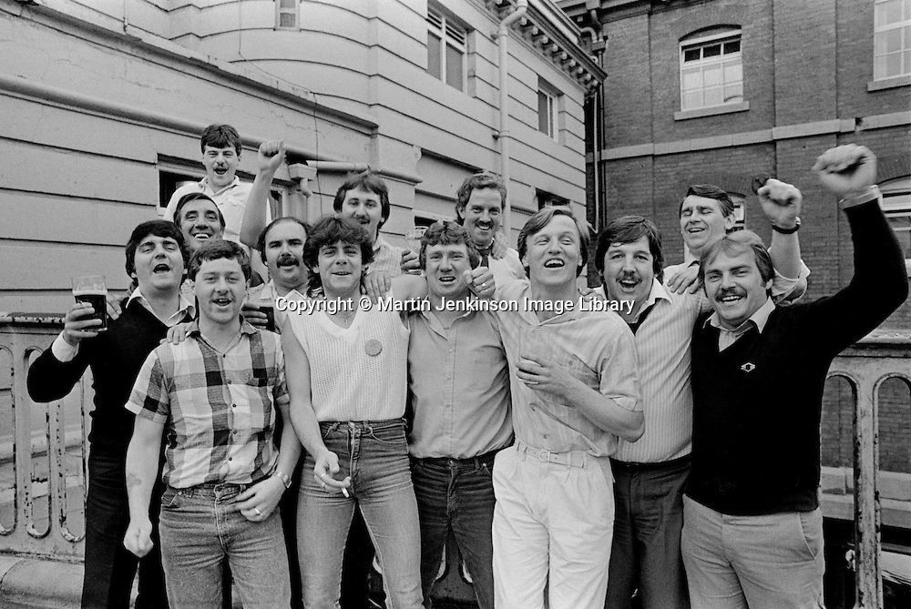 Coal House riot trial defendants celebrate after aquittal at Sheffield Crown Court. 15 july 1985