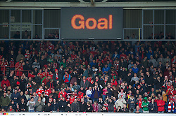 WREXHAM, WALES - Monday, May 7, 2012: Wrexham supporters celebrate their side's opening goal against Luton Town during the Football Conference Premier Division Promotion Play-Off 2nd Leg at the Racecourse Ground. (Pic by David Rawcliffe/Propaganda)