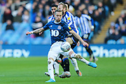 Blackburn Rovers midfielder Lewis Holtby (22) pressured by Sheffield Wednesday midfielder Barry Bannan (10)  during the EFL Sky Bet Championship match between Sheffield Wednesday and Blackburn Rovers at Hillsborough, Sheffield, England on 18 January 2020.