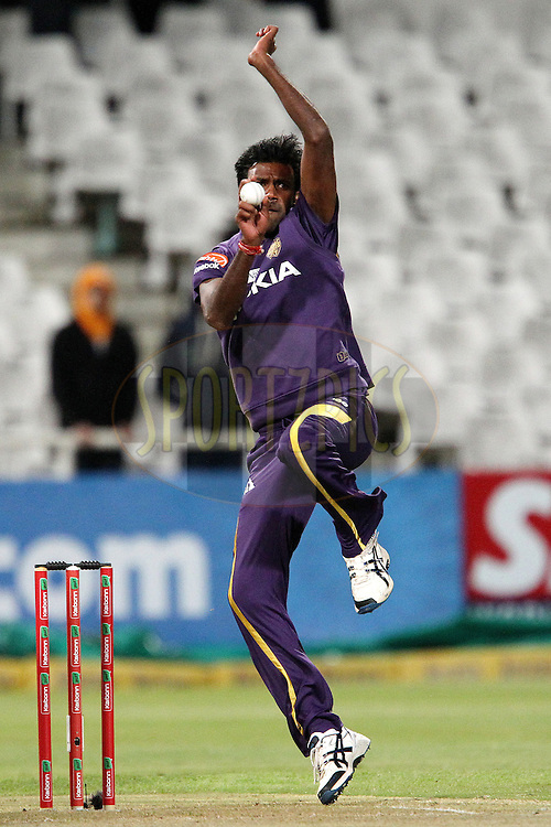 L Balaji bowls during match 5 of the Karbonn Smart CLT20 South Africa between The Kolkata Knight Riders and The Auckland Aces held at Newlands Stadium in Cape Town, South Africa on the 15th October 2012..Photo by Ron Gaunt/SPORTZPICS/CLT20