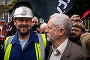 UNITED KINGDOM, London:  Labour leader Jeremy Corbyn joins hundreds of steelworkers from across the UK as they march through Westminster to keep up pressure for government help for their industry as the British steel industry declines in London, on May 25, 2016. Pic by Andrew Cowie / Story Picture Agency