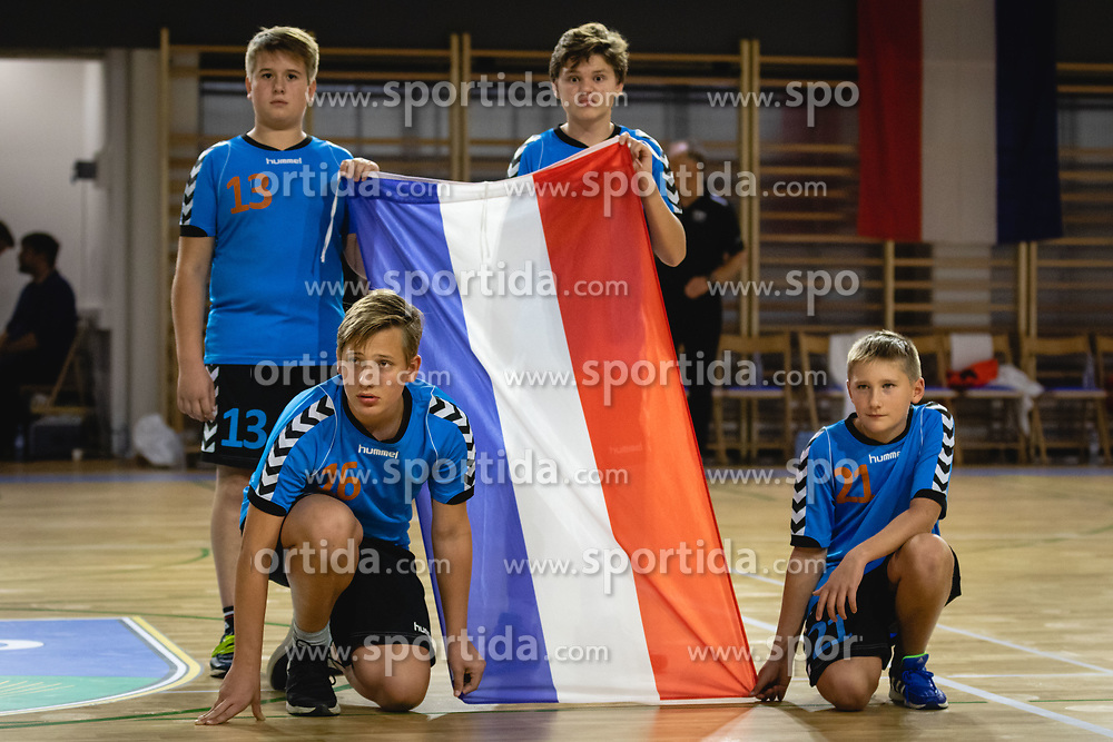 Flag boys before friendly friendly handball match between Slovenia and Nederland, on October 25, 2019 in Športna dvorana Hardek, Ormož, Slovenia. Photo by Blaž Weindorfer / Sportida