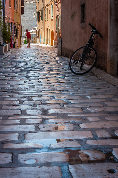 One of the many back streets of the old town of Rovinj, in the Istria peninsula.