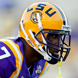 October 16, 2010; Baton Rouge, LA, USA; LSU Tigers cornerback Patrick Peterson (7) during warm ups prior to kickoff against the McNeese State Cowboys at Tiger Stadium. LSU defeated McNeese State 32-10. Mandatory Credit: Derick E. Hingle