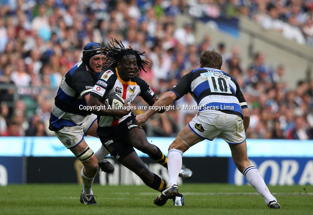 Paul Sackey running away of Butch James- Guinness Premiership - London Wasps v Bath Rugby - Saturday 24 April 2010. Twickenham - London