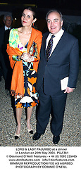 LORD & LADY PALUMBO at a dinner in London on 24th May 2004.PUJ 381