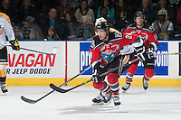 KELOWNA, CANADA - OCTOBER 25: Tyson Baillie #24 of Kelowna Rockets skates against the Brandon Wheat Kings on October 25, 2014 at Prospera Place in Kelowna, British Columbia, Canada.  (Photo by Marissa Baecker/Shoot the Breeze)  *** Local Caption *** Tyson Baillie;