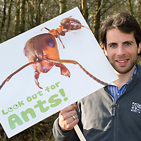 Scottish Wildlife Trust Ambassador Mark Beaumont visits Loch of the Lowes Wildlife Reserve, Perthshire. He is pictured promoting the 'Look Out For Ants' campaign<br /> Picture by Graeme Hart.<br /> Copyright Perthshire Picture Agency<br /> Tel: 01738 623350  Mobile: 07990 594431