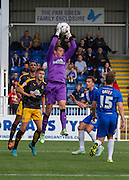 Chris Dunn (Cambridge United) claims the high ball during the Sky Bet League 2 match between Hartlepool United and Cambridge United at Victoria Park, Hartlepool, England on 19 September 2015. Photo by George Ledger.