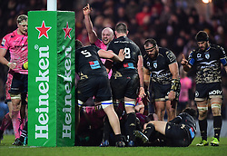 Jack Yeandle of Exeter Chiefs celebrates Matt Kvesic's try - Mandatory by-line: Alex Davidson/JMP - 13/01/2018 - RUGBY - Sandy Park Stadium - Exeter, England - Exeter Chiefs v Montpellier - European Rugby Champions Cup