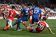 Goalmouth scramble as Fleetwood Town defender Lewis Coyle (2) blocks the shot from AFC Wimbledon striker Joe Pigott (39) during the EFL Sky Bet League 1 match between Fleetwood Town and AFC Wimbledon at the Highbury Stadium, Fleetwood, England on 4 August 2018. Picture by Craig Galloway.