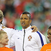 Nani, Portugal, sings the National Anthem before the Portugal V Mexico International Friendly match in preparation for the 2014 FIFA World Cup in Brazil. Gillette Stadium, Boston (Foxborough), Massachusetts, USA. 6th June 2014. Photo Tim Clayton