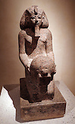 Kneeling figure of queen Hatshepsut with cultic vessel new Kingdom, dynasty 18 around 1475 BC Thebes West / Deir el-Bahari Rose granite.