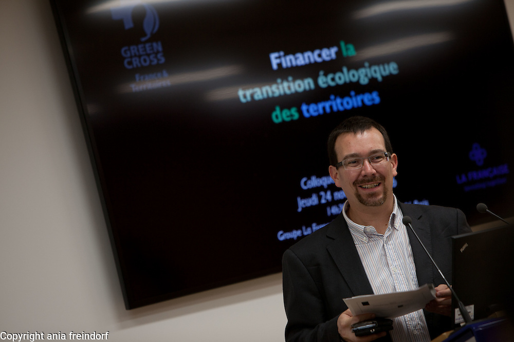 """Green Cross France Finance green transition conference, """"La francaise """" group, Paris, France, climate change, COP22, green bonds, green finance, climate finance, climate gouvernance, energy transition, energy shift. Nicolas Imbert Director of GCFT"""