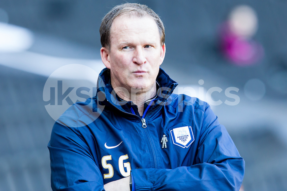 Preston North End manager Simon Grayson during the Sky Bet League 1 match between Milton Keynes Dons and Preston North End at stadium:mk, Milton Keynes, England on 7 March 2015. Photo by Gareth  Brown.