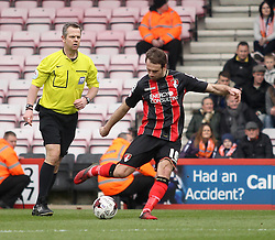 /Bournemouth's Brett Pitman scores his third goal - Photo mandatory by-line: Robbie Stephenson/JMP - Mobile: 07966 386802 - 14/03/2015 - SPORT - Football - Bournemouth - Dean Court - AFC Bournemouth v Blackpool - Sky Bet Championship