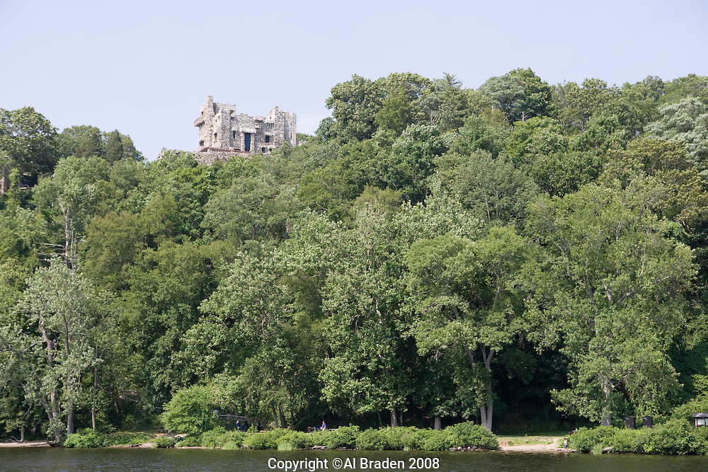 Gillette Castle State Park seen from the Chester - Hadlyme Ferry on the Connecticut River.