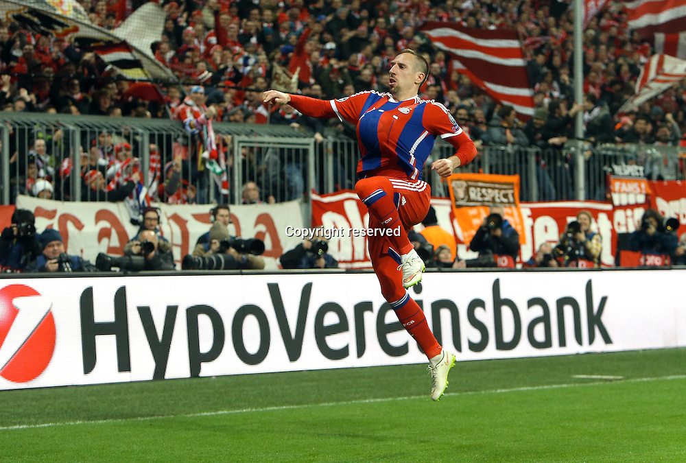 11.03.2015. Allianz Stadium, Munich, Germany. UEFA Champions League football. Bayern Munich versus Shakhtar Donetsk. Scorer Franck Ribery (Bayern) celebrates making it 3:0 The game ended 7-0 to Bayern over Shakhtar.