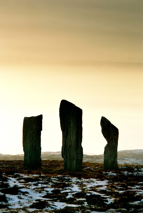 Callanish prehistoric stone circle. Island of Lewis, Outer Hebrides, Scotland. Three of the 5000 year old alignment megaliths