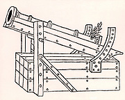 Cannon formed of iron staves hooped together and mounted on a primitive gun carriage. The elevation of the gun could be moving the rod on the front pillar into a different slot.    From 'De re militari' by Roberto Valturio (Verona, 1472).  Woodcut.