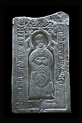 Grave slab depicting John MacAlister, parson of Gigha, Argyll, 1500-60, from the chapel on Texa, a small island off Islay, given by Capt. Ian Ramsay of Kildalton, in the National Museum of Scotland, Edinburgh, Scotland. This is a cast of an original at Finlaggan. Picture by Manuel Cohen