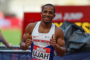 Chilindu Utah of Great Britain wins the Men's 100m final during the Muller Anniversary Games at the London Stadium, London, England on 9 July 2017. Photo by Martin Cole.