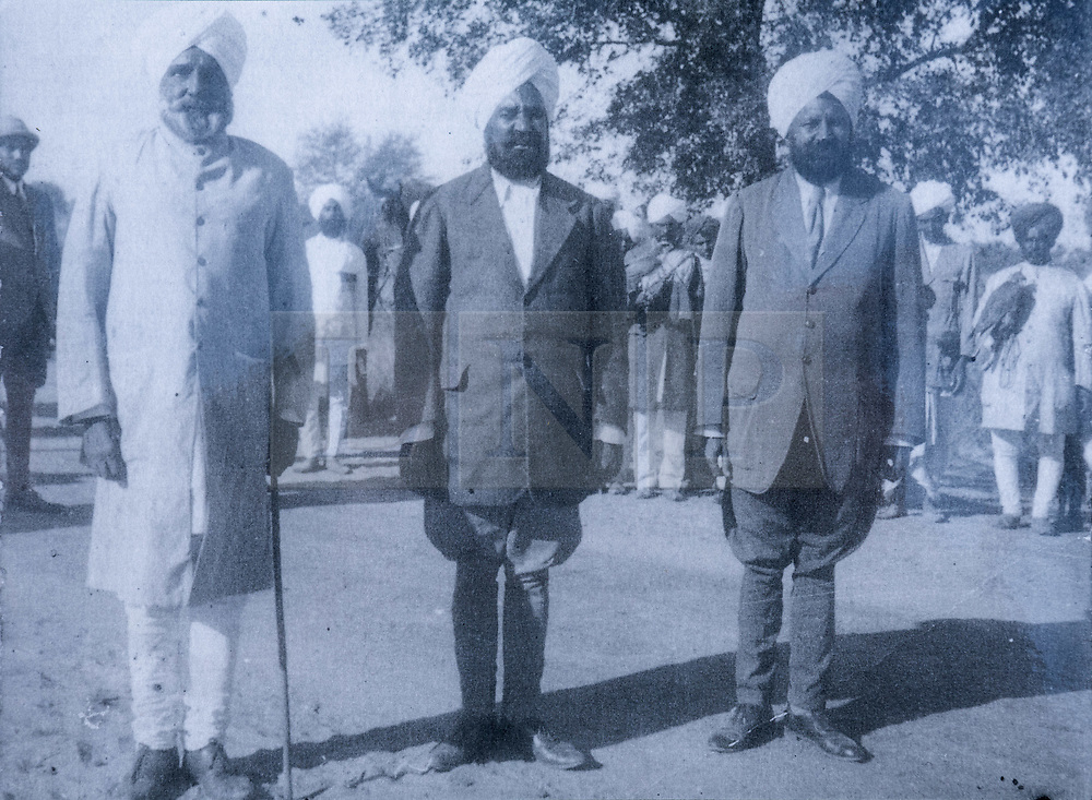 © Licensed to London News Pictures. 02/04/2019. Bristol, UK. The Bristol Sikh War Memorial and Remembrance Garden at the official opening in Bristol's Castle Park. Certificate and old photo of Lieutenant Colonel Nihal Singh (left) who fought in the First World War, and whose great grandaughter Bibi Parmjit Kaur was present at the memorial event. The Bristol Sikh War Memorial and Remembrance Garden at the official opening in Bristol's Castle Park, to honour an estimated 83,000 Sikh soldiers who lost their lives in the First and Second World Wars, and more than 100,000 who were seriously wounded. The unveiling was performed by HRH The Duke of Kent, KG. The garden is close to the ruins of St Peter's Church and has been organised by the Bristol Sikh War Memorial Committee to be a peaceful way to remember the Sikh lives lost during the two conflicts. The idea was formed four years ago when Dilawer Singh Potiwal, the project leader of the committee, was attending a commemorative event with long-serving former Labour councillor Ron Stone, who died in 2015, and they had an idea that the Bristol Sikh community do something for their ancestors. All except the architects involved with the war memorial did so as volunteers. Photo credit: Simon Chapman/LNP