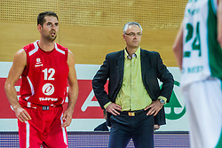 Head coach Ivan Velic of KK Krka Novo mesto vs Sandi Cebular of KK Tajfun Sentjur during basketball match between KK Krka Novo mesto and KK Tajfun Sentjur at Superpokal 2015, on September 26, 2015 in SKofja Loka, Poden Sports hall, Slovenia. Photo by Grega Valancic / Sportida.com