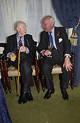 Lord Roy Baker and Hugh Ashton, Barbershop: Truefitt & Hill  200th anniversary Bollinger champagne breakfast. Carlton Club, 69 St James's Street, London, SW1, 27 October 2005. October 2005. ONE TIME USE ONLY - DO NOT ARCHIVE © Copyright Photograph by Dafydd Jones 66 Stockwell Park Rd. London SW9 0DA Tel 020 7733 0108 www.dafjones.com