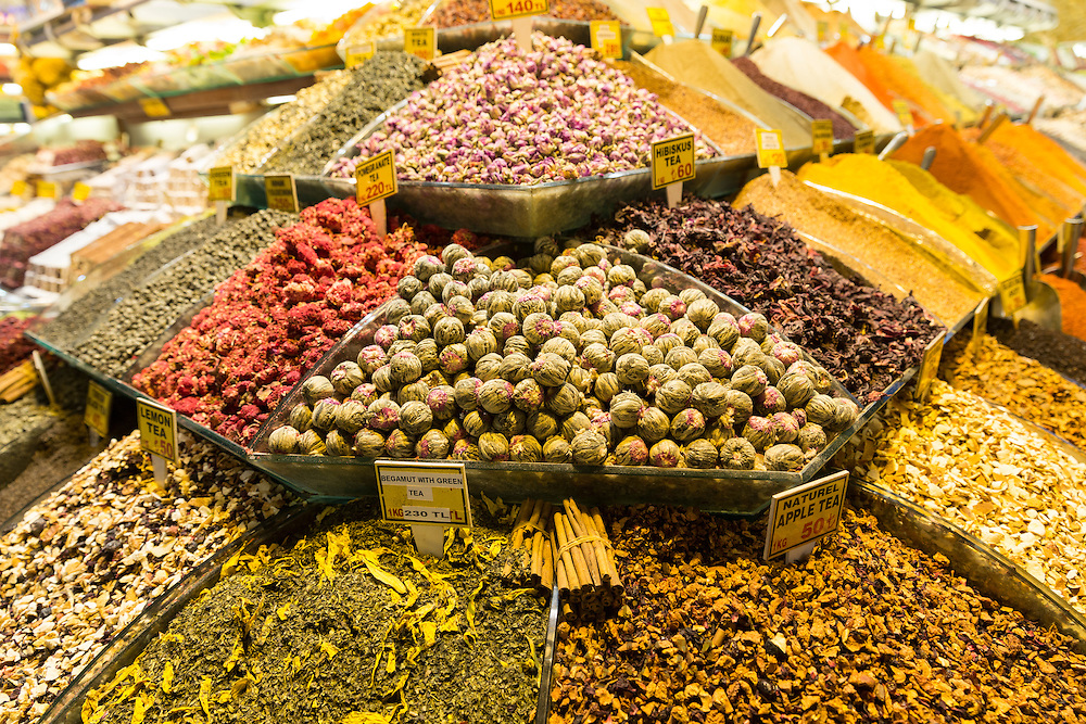 Traditional speciality tea leaves and flowers Jasmine Hibiscus in Misir Carsisi Egyptian Bazaar food market, Istanbul, Turkey