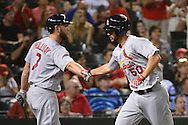 PHOENIX, ARIZONA - APRIL 27:  Adam Wainwright #50 of the St. Louis Cardinals is congratulated by Matt Holliday #7 after scoring during the sixth inning against the Arizona Diamondbacks at Chase Field on April 27, 2016 in Phoenix, Arizona.  (Photo by Jennifer Stewart/Getty Images)