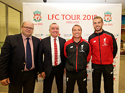 ADELAIDE, AUSTRALIA - Saturday, July 18, 2015:  CEO of South Australia Tourism Commission Rodney Harrex with Liverpool's Managing Director Ian Ayre, captain Jordan Henderson and manager Brendan Rodgers at a press conference at Adelaide Airport ahead of a preseason friendly match against Adelaide United on day six of the club's preseason tour. (Pic by David Rawcliffe/Propaganda)