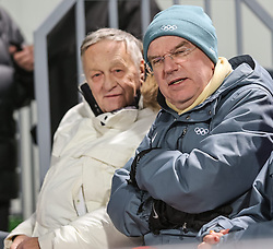 11.02.2014, RusSki Gorki Jumping Center, Krasnaya Polyana, RUS, Sochi, 2014, Skisprung Damen Normalschanze, im Bild Gian Franco Kasper, Präsident des Internationalen Skiverbandes (FIS), Thomas Bach Präsident des Internationalen Olympischen Komitees (IOC) // Gian Franco Kasper, President of the International Ski Federation (FIS) and Thomas Bach President of the International Olympic Committee during Women' s Individual Normal Hill Ski Jumping of the Olympic Winter Games 'Sochi 2014' at the RusSki Gorki Jumping Center, Krasnaya Polyana, Russia on 2014/02/11. EXPA Pictures © 2014, PhotoCredit: EXPA/ Sammy Minkoff<br /> <br /> *****ATTENTION - OUT of GER*****