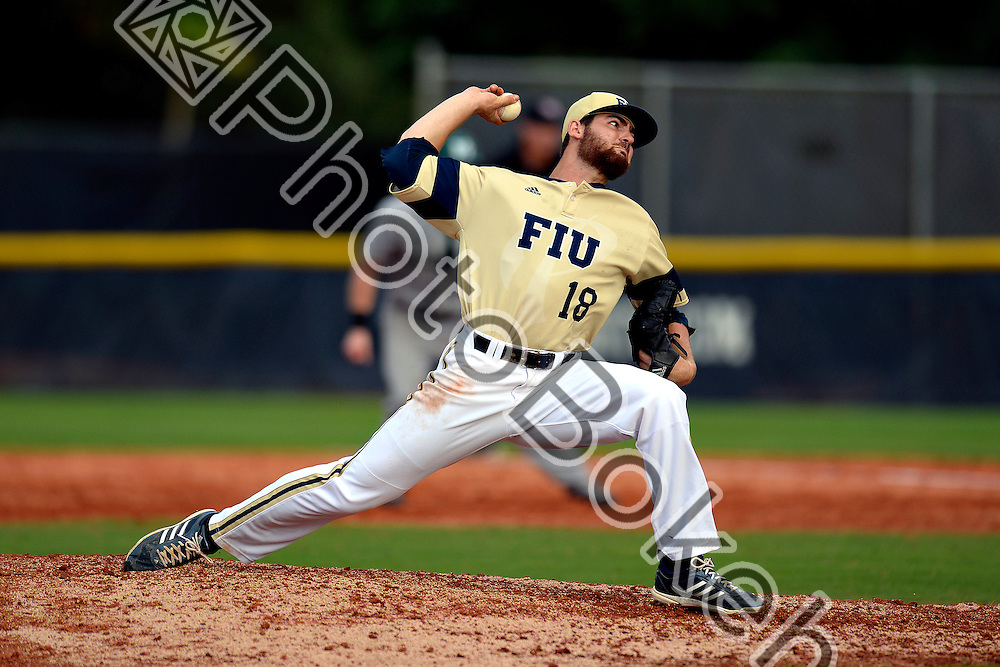 2015 February 28 - FIU's Dillon Maya (18). <br /> Florida International University defeated Manhattan, 17-0, at FIU Baseball Stadium, Miami, Florida. (Photo by: Alex J. Hernandez / photobokeh.com) This image is copyright by PhotoBokeh.com and may not be reproduced or retransmitted without express written consent of PhotoBokeh.com. &copy;2015 PhotoBokeh.com - All Rights Reserved