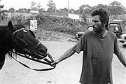 Walking a horse, at Glastonbury, 1989.