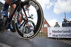 Cervélo-Bigla Cycling Team rolls of the start ramp during Stage 2 of the Healthy Ageing Tour - a 19.6 km team time trial, starting and finishing in Baflo on April 6, 2017, in Groeningen, Netherlands.