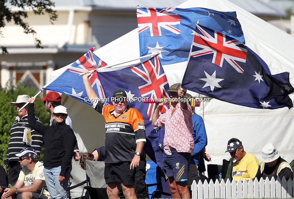 Australian cricket fans.<br />Test Match Cricket. 2nd test. Day 3.<br />New Zealand Black Caps versus Australia. Seddon Park, Hamilton, New Zealand. Monday 29 March 2010. <br />Photo: Andrew Cornaga/PHOTOSPORT