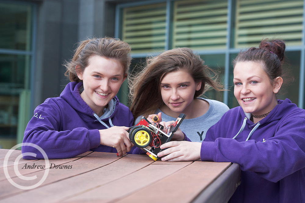 01/05/2015  repro free Orlaith Lyons, Orla Waters and Katie Burke from Colaiste Mhuire, Ennis Co Clare, their robot at the Irish Robotics Championship where over 450 second level students competed for the coveted trophy supported by  EA Games. Photo:Andrew Downes: XPOSURE