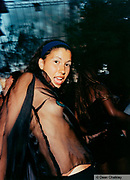 Girl wearing a see through/sheer top, Ibiza, 2000