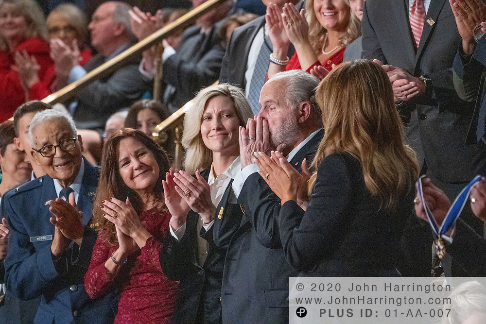 Radio host Rush Limbaugh is presented with the Presidential Medal of Freedom by First Lady Melania Trump on behalf of the President during the State of the Union address by the President, Tuesday February 4, 2020 at the United States Capitol in Washington DC.