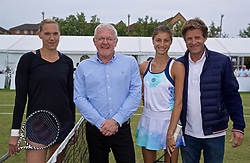LIVERPOOL, ENGLAND - Sunday, June 23, 2019: Kaia Kanepi (EST) (L) and Corinna Dentoni (ITA) with xxxx and Tournament Director Anders Borg (R) before the Ladies' Final on Day Four of the Liverpool International Tennis Tournament 2019 at the Liverpool Cricket Club. (Pic by David Rawcliffe/Propaganda)