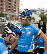 Mark Cavendish from the Isle of Man, Team Columbia, winner of four stages in the 2008 Tour de France, at the Tour of Ireland  cycle race Stage 1, Grand Canal Square, Dublin 2. On his left is Bernhard Eisel (Austria). Cavendish went on to win this stage, into Waterford.