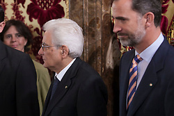 11.05.2015, Royal Palace, Madrid, ESP, Treffen zwischen Spaniens König Felipe VI und Italiens Präsident Mattarella, im Bild King Felipe VI of Spain (R) and President of the Italian Republic, Sergio Mattarella // during a meeting at the Royal Palace in Madrid, Spain on 2015/05/11. EXPA Pictures © 2015, PhotoCredit: EXPA/ Alterphotos/ Victor Blanco<br /> <br /> *****ATTENTION - OUT of ESP, SUI*****