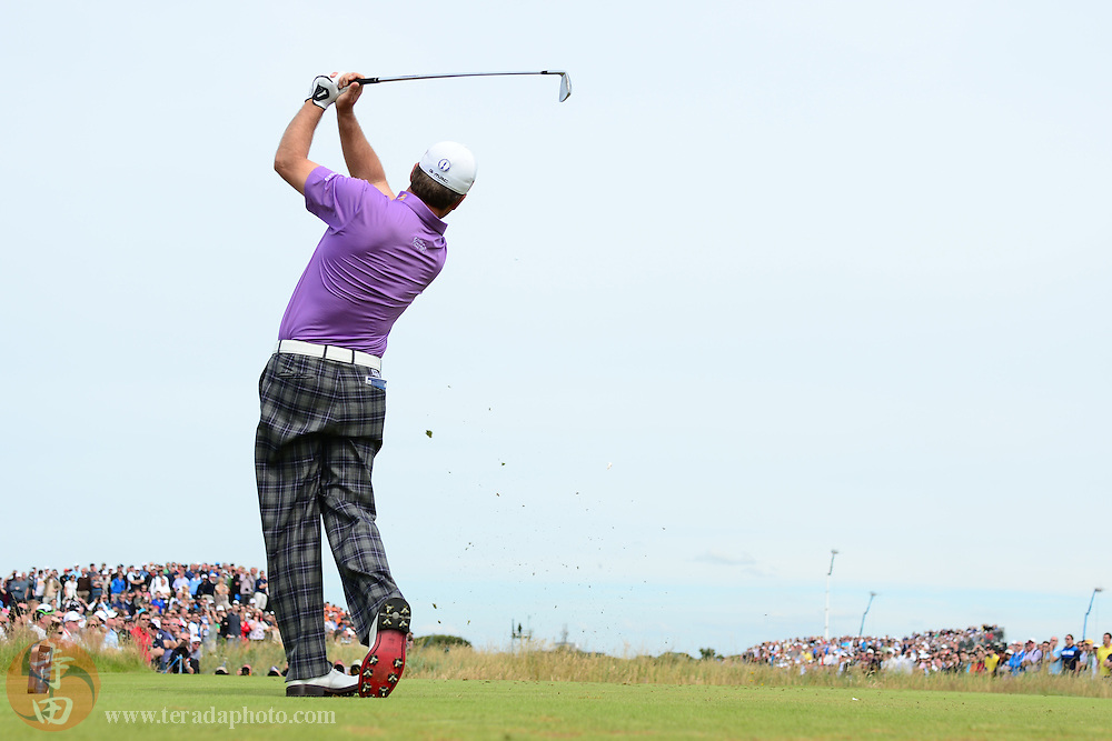 July 21, 2012; St. Annes, ENGLAND; Graeme McDowell tees off on the 5th hole during the third round of the 2012 British Open Championship at Royal Lytham & St. Annes Golf Club.