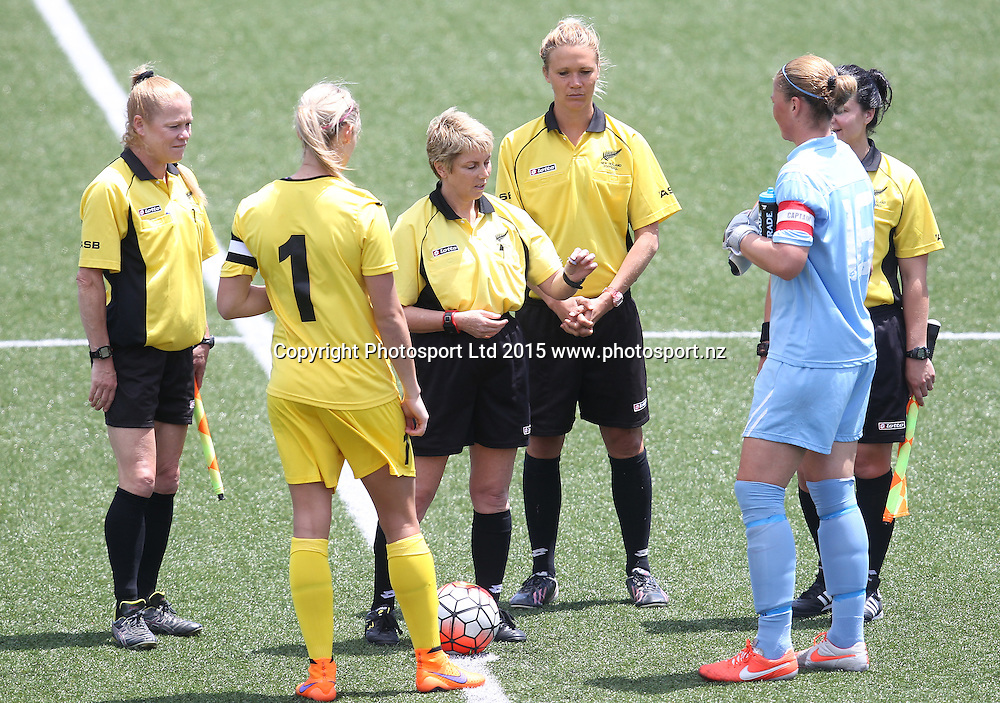 Referee Karyn Meade does the coin toss. ASB Women's League, Auckland v Northern, William Green Domain Auckland, Sunday 8th November 2015. Copyright Photo: Shane Wenzlick