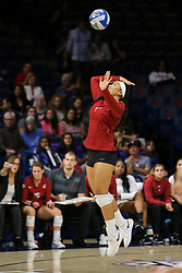 October 7, 2018 - Tucson, AZ, U.S. - TUCSON, AZ - OCTOBER 07: Washington State Cougars outside hitter Penny Tusa (1) serves the ball during a college volleyball game between the Arizona Wildcats and the Washington State Cougars on October 07, 2018, at McKale Center in Tucson, AZ. Washington State defeated Arizona 3-2. (Photo by Jacob Snow/Icon Sportswire) (Credit Image: © Jacob Snow/Icon SMI via ZUMA Press)