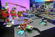 The Mega Bloks Teenage Mutant Ninja Turtles make an appearance at the New York Toy Fair, Friday, Feb. 12, 2016. (Photo by Diane Bondareff/AP Images for Mattel)