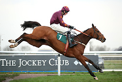 Marienstar ridden by Jack Andrews wins the Fourpenny Plate MaresÕ NovicesÕ Handicap Chase at Warwick Racecourse.