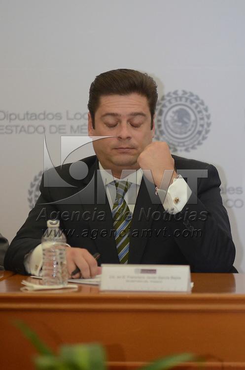 Toluca, México.- Francisco Javier Garcia Bejos, Secretario del Trabajo, durante la sesión de la comisiones legislativas en el Salón Benito Juárez de la Cámara de Diputados. Agencia MVT / Arturo Hernández.