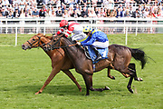 MANJAAM (8) ridden by jockey Edward Greatrex and trained by Ed Dunlop winning The Brittains Beverages Extraordinary Spirits Handicap Stakes over 1m 4f (£15,000)at York Racecourse, York, United Kingdom on 26 May 2018. Picture by Mick Atkins.